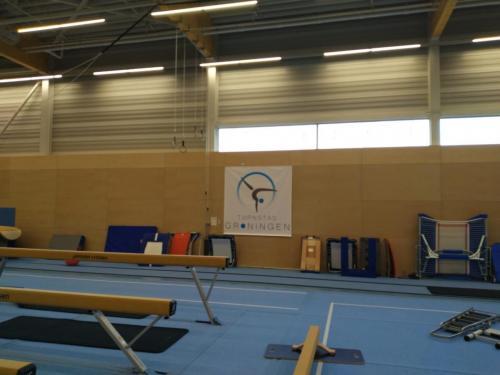 Onze banner in de zaal!